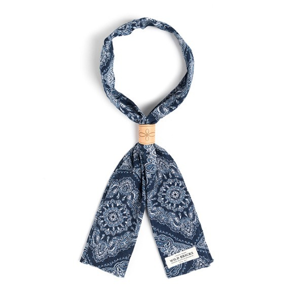 TWO-TONE PAISLEY SCARF (navy)