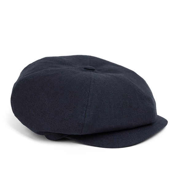 LINEN-COTTON NEWSBOY CAP (navy)